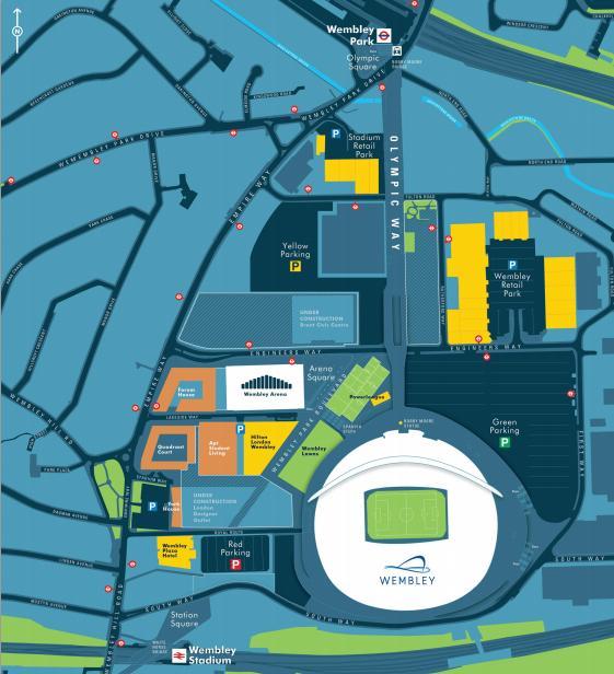 Карта Wembley, на которой можно видеть расположение Wembley Stadium, Wembley Arena и окружающих объектов. Source: http://www.wembley.co.uk